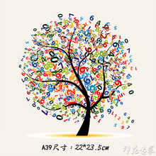 DIY clothes paste ironing decals Korean fashion ladies digital tree couple heat transfer Offset Tang Hua pattern patches patch