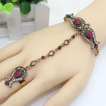 Luxuries Turkish Women Tulips Flower Bracelet Ring Set Resin Jewelry Antique Gold Color India Dance Wedding Secret bijouterie