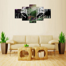 5 Panels Tiger Head Mountain Canvas  Prints for Living Room Wall Art Picture Gift Home Decoration HOR004