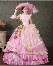 17 18th Century Marie Antoinette European Court Dress Halloween Make Up Party Cosplay Costume Pink Formal Event Dress