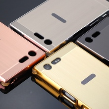 Shockproof Aluminum Metal Bumper For Sony Xperia X Compact (X mini) Luxury Phone Frame With Wire Drawing Plastic Back Cover