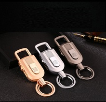Keychain metal electronic Rechargeable USB tobacco smoking Cigarette Lighter windproof  car key ring holder light LED flashlight
