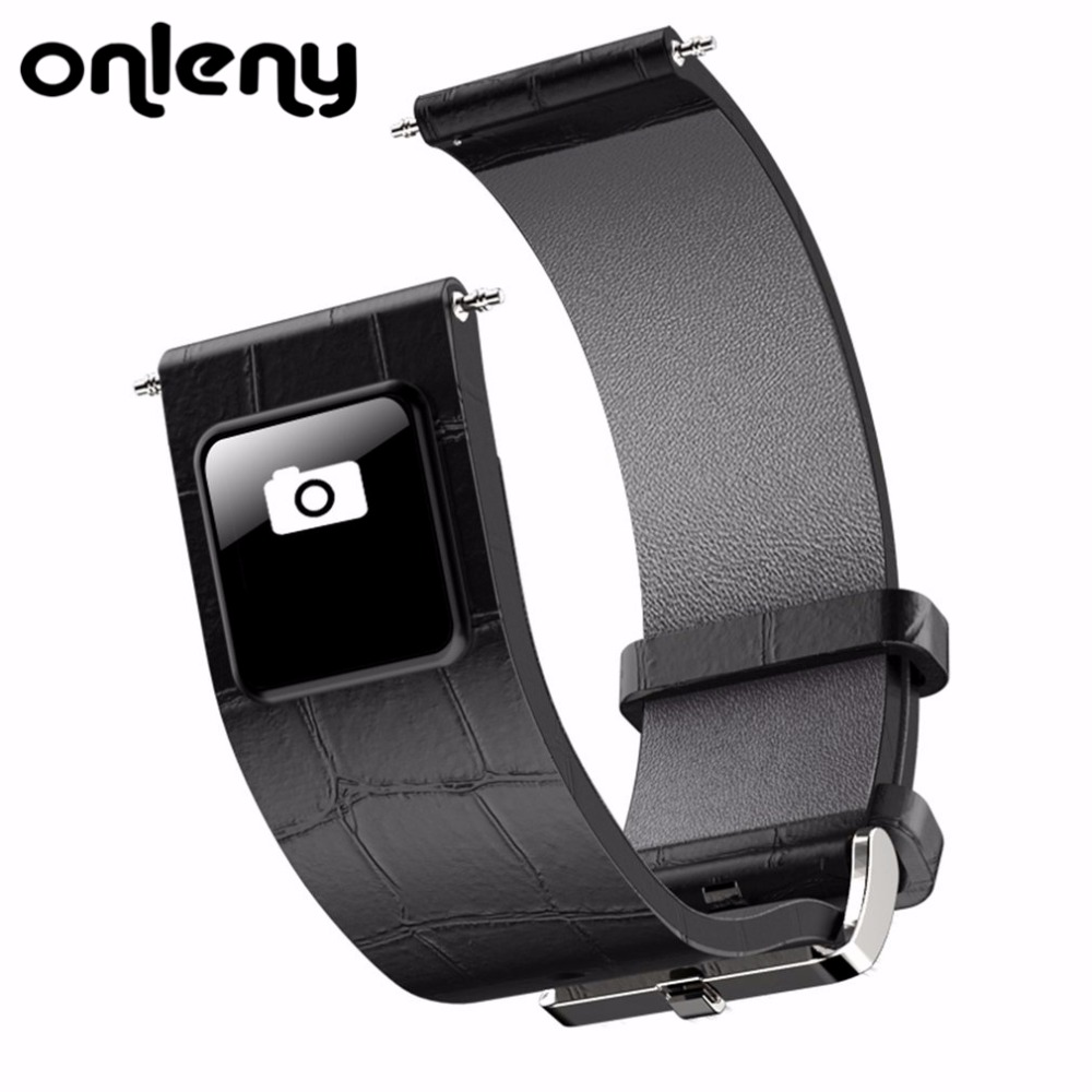 Onleny H1 20mm 22mm Watch Band Bluetooth 4.0 Smart Band Wristband 0.42 OLED display Leather Watchband Straps for IOS Android <br>