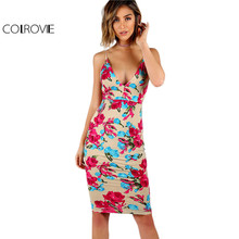 COLROVIE Floral Empire Slip Dress 2017 Sexy Party Women Plunging Backless Midi Summer Dresses Bodycon Sleeveless Club Dress