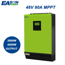 EASUNPOWER 48V 80A Grid Tie Inverter 220V MPPT Hybrid Solar Inverter 3000w 4000w Pure Sine Wave Inverter 60A Battery Charger(China)