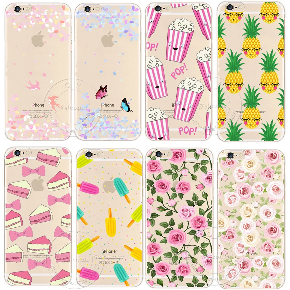 Newest Fashion Colorful Phone Cases soft TPU For Apple iPhone X 5S SE 6 6S 7 8 Plus case Waterproof Transparent Flower Pattern(China)