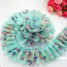 5 Yards 40mm Chiffon Pleated Trim Mesh Lace Sewing Gathered Trim Home Handmade Cloth Decoration(China)