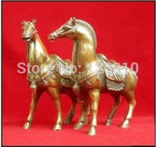 "wholesale promotion cheap old art & antiques Chinese 1Pair Chinese bronze brass Horses Statue figurine 6.4""H"