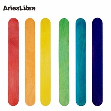 AriesLibra 6pcs/set  6 Colors Wooden Wax Applicator Salon Waxing Body Hair Removal Wax Applicator Sticks Nail Fan Brush