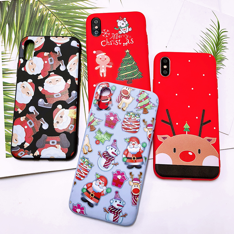 Phone Case For iPhone 7 5 S 5S SE 6 6s 7 8 Plus X XR XS Max Fashion Cute Cartoon Christmas Lovely Santa Claus Elk Soft TPU Cover (30)