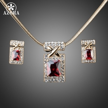 AZORA Gold Color Unique Design with Dark Red Cubic Zirconia Earrings and Necklace Jewelry Sets TG0027