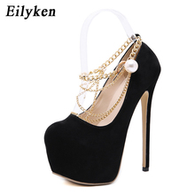 Buy Eilyken Sexy Chain Pumps Wedding Women Fetish Shoes Woman Pumps High Heel Stripper Flock Pumps 16 cm size 34-40
