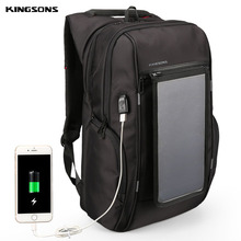 Kingsons Anti theft Backpack Laptop External USB Charge Solar Travel Backpack Mochila 15.6 Men Women Waterproof School Bag Sunny(China)