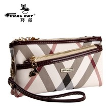 FERAL CAT Evening Clutch Bags Handbags Women Famous Brands Pvc Dames Tassen Stripe Vintage Ladies Hand Bag Burgundy Bolso Mujer(China)