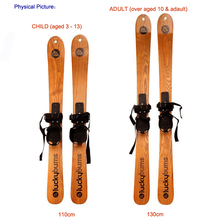 Wooden Adult Snowboard Skiing Board Kid Skis  Solid Wood Skee Borads With Ski Snow Sticks9878