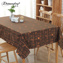Zhuimenglong New Beige,Coffee,Dark coffee Cotton Linen Tablecloths Tea Table Cloth Dinner Tablecloth Dustproof Cover Home Decor(China)