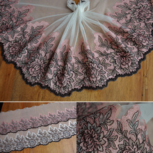 2016 New Arrival 20*100cm  lace embroidered gauze  nigerian  fabrics Tulle Lace Fabric For Wedding dress  ribbon Patchwork  E17