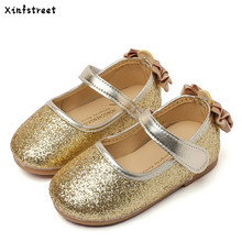 Baby Shoes Girls 2017 Bling Children Casual Shoes Princess Single Flat Designer Cute Bow Shoes For Girls Size 21-30