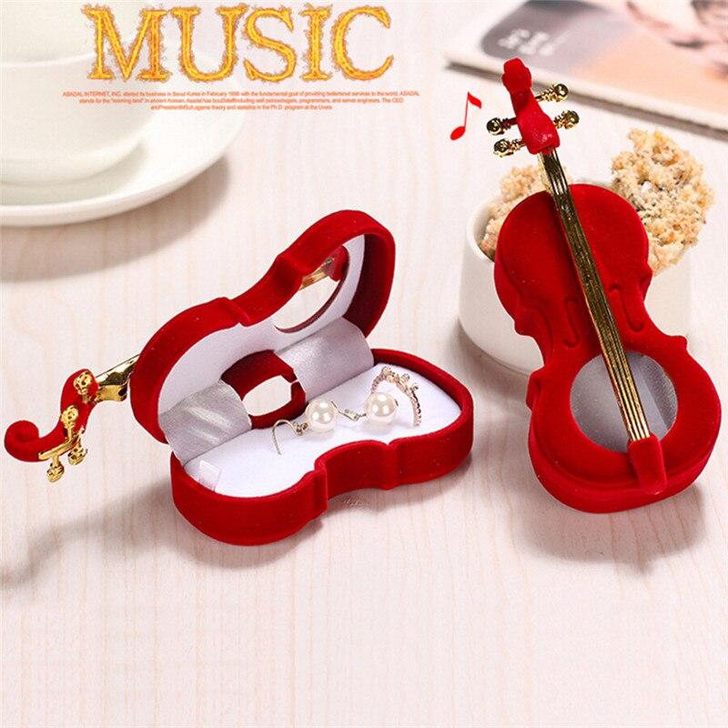 Violin Shape Velvet Ring Box Earring Pendant Locket Necklace Jewelry Gift Case For Women Wedding Engagement Ring Box