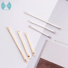 DIY geometric earrings earrings accessories copper plating silver double connecting rod material accessories(China)