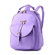 High Quality Casual PU Women Backpacks Purple Traveling Bag Bownot Decoration Adjustable Straps Simple Girl's Schoolbag Zipper