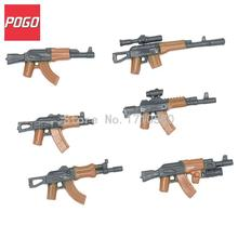 POGO Military Series AK Weapons 6pcs/set Parts For Army City Police Swat Gun Figure AK47 DIY Building Blocks Bricks Toys