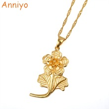 Anniyo Rose Pendant and Necklaces for Women/Girls,Gold Color and Copper Plant Flowers Jewelry Gifts #000236(China)