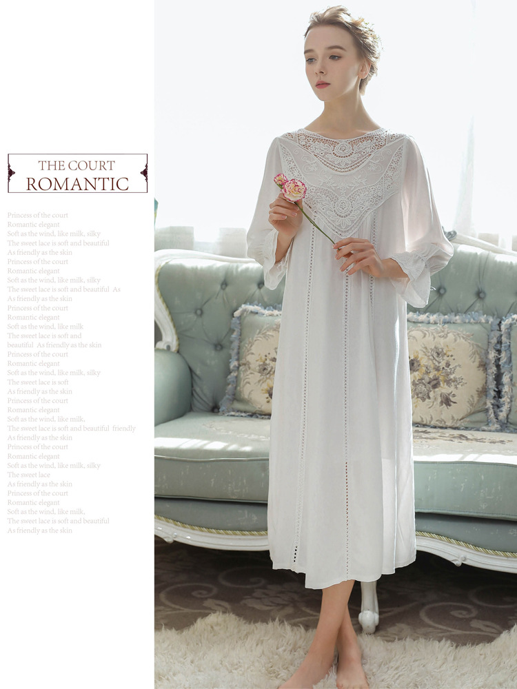 Women Vintage Style Women's Gown Flare Sleeve Pink Cotton Night Dress Long Nightdress Laced Nightshirt Victorian Nightgown 21