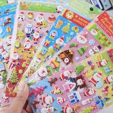 Cute Merry Christmas Stickers Puffy Christmas Cute Stickers Diary II Christmas Scrapbook Embellishment Stickers(China)