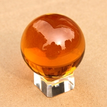 110mm Rare Amber Crystal  Ball+ Removed Stand Crystal Feng Shui Ball Good Luck Sphere For New Home Decor