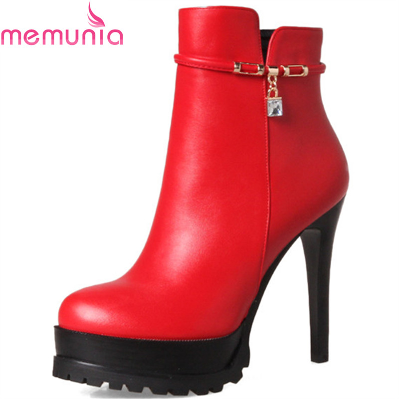 MEMUNIA 2018  New arrive womens boots in spring autumn spuer heels shoes woman ankle boots for women party lady fashion<br>
