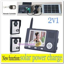 2v1 Solar power charger wireless apartment building video intercom/door phone wih record photos& remote control free shipping