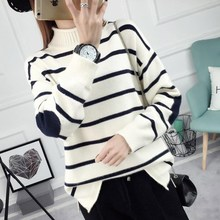 Autumn and winter short loose striped sweater sleeve head KD bottoming sweaters semi turtleneck jacket thick students