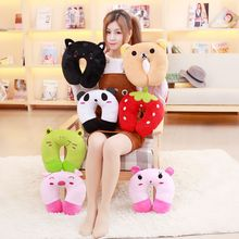 1Pc Cute plush pillow U shape headrest cartoon design toys for travel kids toys neck protector toys good birthday gift