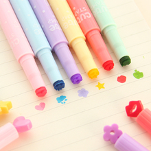 freeshipping 5pcs Creative crayons children stamp highlighter marker pen flashlight luminous pen