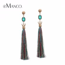 eManco Trendy Cute Deer Antlers Dangle Drop Earrings Green Crystal Bohemia Long Tassel Hanging Earring Fashion Jewelry