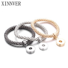 New Gold Silver Snap Bracelet For Women Fit DIY 18mm Snap Jewelry Elastic Snap Buttons Bracelet Jewelry ZE098
