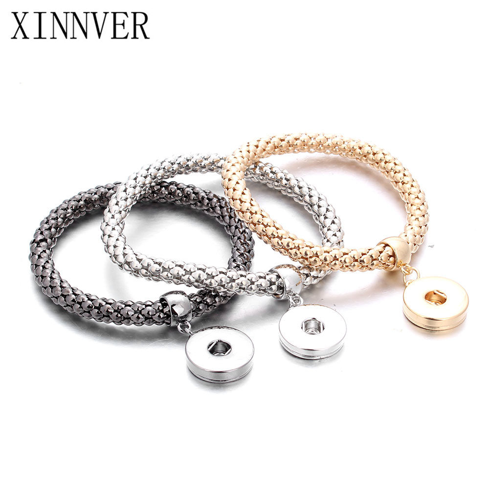 New Gold Silver Snap Bracelet For Women Fit DIY 18mm Snap Jewelry Elastic Snap Buttons Bracelet Jewelry ZE098(China)
