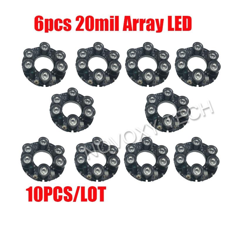 DIY10PCS/Lot 6pcs 20mil Array LED IR 20-50 Meters PCB Board Size 90 Infrared 850nm for 90 CCTV Array IR Bullet Camera Casing<br>