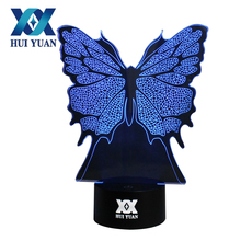 Butterfly 3D Night Light RGB Changeable Mood Lamp LED Light DC 5V USB Decorative Table Lamp Get a free remote control HUI YUAN(China)