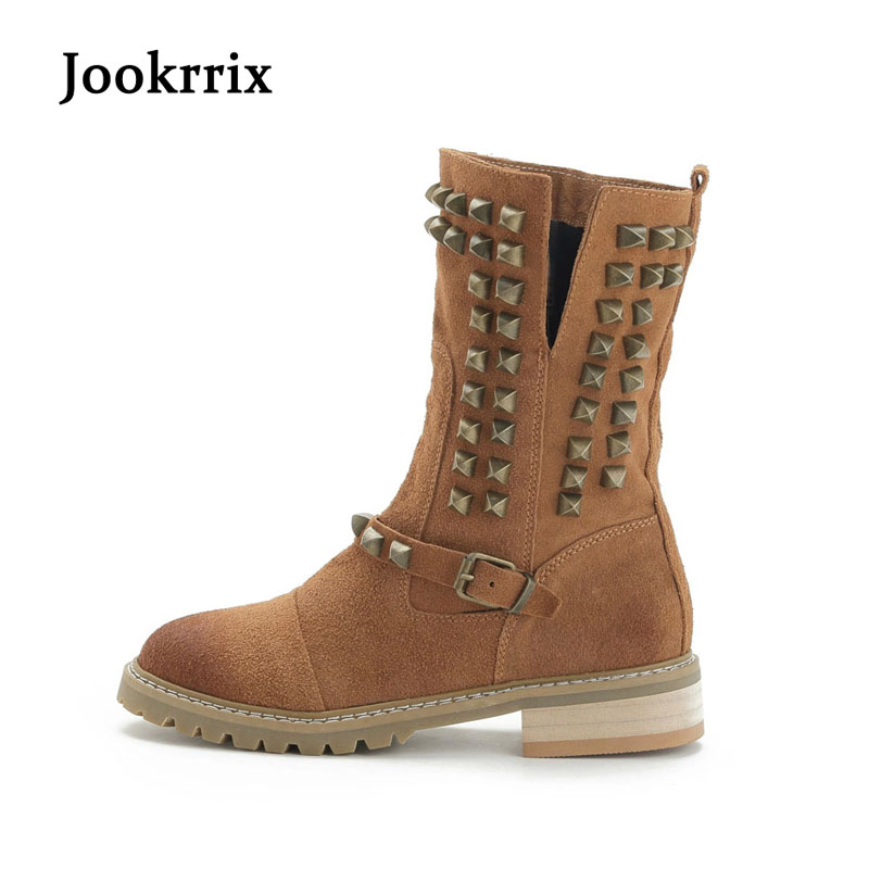 Jookrix Autumn Winter Western Style Fashion Retro Boots Rivets Women Shoe Lady Genuine Leather Boots Brand Martin Boots Khaki <br>