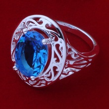 Free Shipping Promotion Silver plated Ring Fashion Jewerly Ring Women&Men costly blue stone /aotajgaa cazaksga AR375(China)