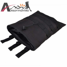 Tactical Molle Magazine Pouch With Molle Belt Dump Drop PouchOutdoor Sports Hunting Hiking Utility Accessory Pouch EDC Bag Black
