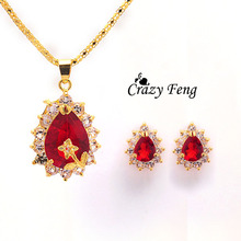 Buy Multi Colors Options Water Drop Crystal Stud Earrings Gold-color Pendant Necklace Jewelry Sets Women Bridal Wedding Bijoux for $1.15 in AliExpress store