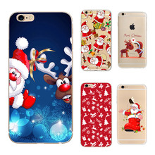 Christmas Santa Claus Back Soft Silicon Case for iPhone 6 Cases 6S 5 5S SE Cover for iPhone 7 7 Plus Phone Cases