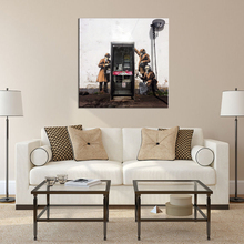 1 Pcs Banksy Art Figures Painting Printed On Canvas Graffiti detective with Telephone Booth Street Artwork for Living Room Decor(China)
