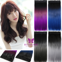 "New Arrival 5 Clips One Piece Clip In Hair Extension Straight 24"" 60cm Rainbow Ombre Synthetic Hair Hairpieces Free Shipping B40"