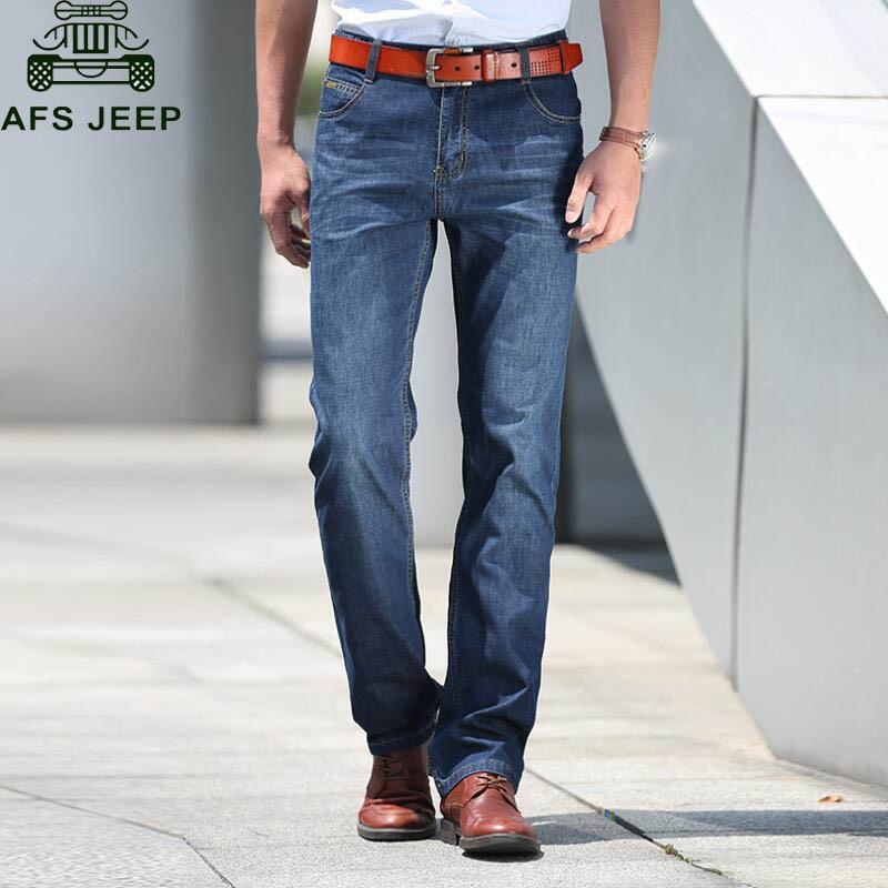 AFS JEEP Denim Overalls Men Jeans Homme Lightweight Business Casual Mens Jeans Straight Male Pants No BeltОдежда и ак�е��уары<br><br><br>Aliexpress