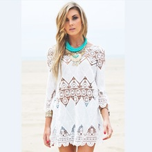 Women Summer Beach Wear Crochet Tunics Dresses Half Sleeve 2016 New Flower Embroidery Boho Lace Shirt Hollow Out Cover Ups