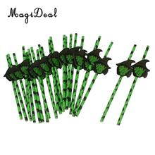 25pcs Halloween Party Witch Drinking Straws Sticker Cake Pop Bubble Tea Juice Straws Home Party Decor